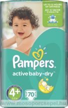 Pampers Active Baby-Dry 4+-os Plus méret (Maxi+), 70 darabos pelenkacsomag